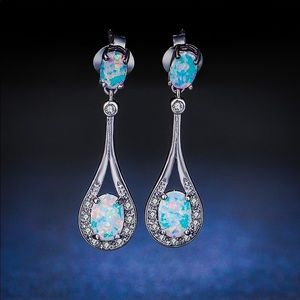 925 Sterling Silver Eclipse Opal Dangle Earrings